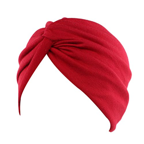 Decou Solid Color Clean Plain Twist Pleasted Hair Turban Cap (Red),One Size