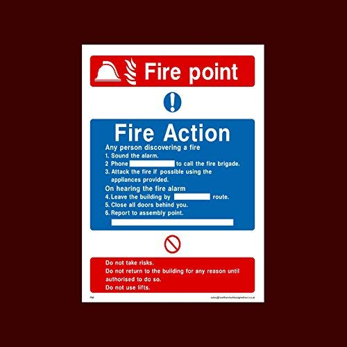 Fire Action Fire Point Sign-stickers zelfklevende vinly waarschuwingsstickers Lable Fire, montagepunt, Break Glas, Lift, Alarm, Brandblusser