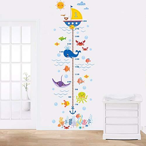 U-Boot Ocean Fish Cartoon Anchor Hoogte wandsticker groeiplank kinderen baby Nursery slaapkamer decoratie Decal Poster