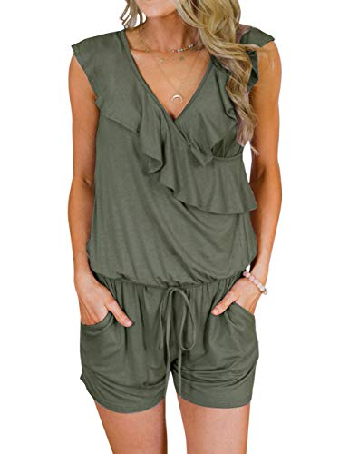 MEROKEETY Women's Summer V Neck Ruffles Sleeveless Shorts Elastic Waist Pockets Jumpsuit Rompers