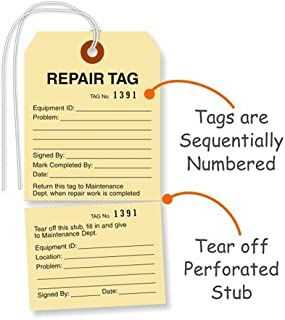 SmartSign Pack of 100 Sequentially Numbered Repair Tags with String | 2.875
