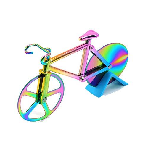 MUROAD Cortador de pizza para bicicleta, rueda cortador de pizza con forma de bicicleta con caballete, ruedas de acero inoxidable, cortador de pizza y pasta (multicolor)