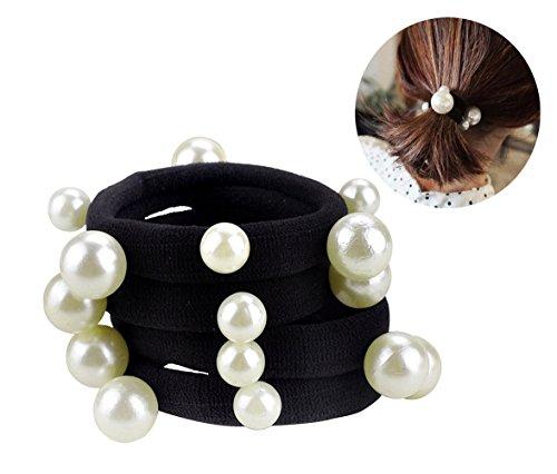 10 Pcs Women's Artificial Pearl Black Elastic Rubber Band Hair Ropes Headbands - No Damage Hair - Seamless Pearl Towel Ring Hair Bands Ponytail Holder Hair Ties Hair Accessories