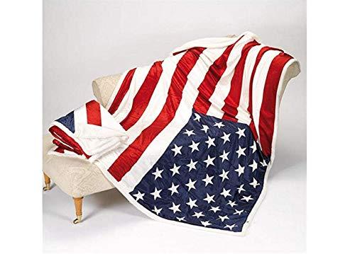 BIANCHERIAWEB Plaid Cooper con Retro Agnellato Disegno Bandiera USA 160x210 cm Bandiera USA