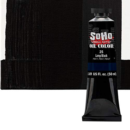 SoHo Urban Artist Oil Color Paint - Professional Highly Pigmented for Canvas Painting - 50ml Tube Lamp Black