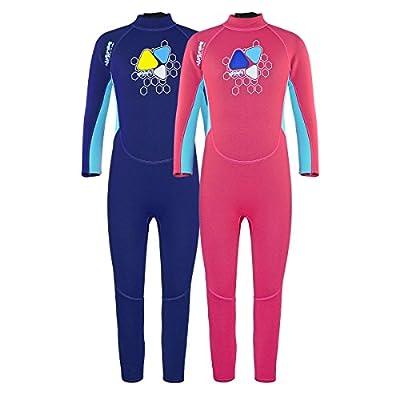 Layatone Kids Wetsuit 2mm Neoprene Full Suit Diving Suit Children Girls Thermal One Piece Swimsuit Kids Scuba Wet Suit Toddlers Boys
