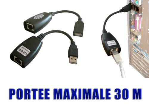 Cable alargador de red RJ45, entrada USB, macho y hembra