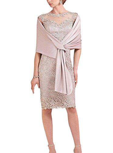 ShineGown - Etuikleid aus Spitze mit Hellrosa Schal für die Brautmutter der Braut (Hell-Pink