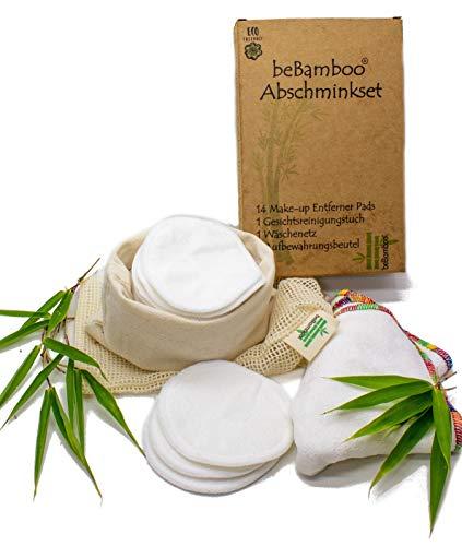 beBamboo waschbare Abschminkpads, 14 wiederverwendbare Wattepads aus Bambus Zellstoff inkl....