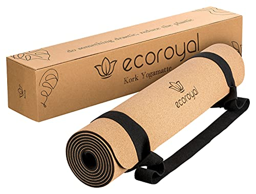 Ecoroyal Esterilla de yoga de corcho, esterilla de yoga con correa, sostenible y antideslizante, 183 x 61 x 0,4 cm