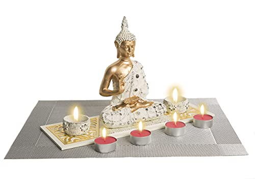 Centro Zen Figura de Buda Figura Decorativa con 2 PortaVelas + 4 Velas Aromáticas Frutos Rojos + Salvamantel Decorativo (Regalo Original)
