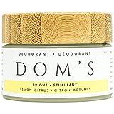 Dom's Natural Deodorant- Aluminum-Free Deodorant that works! Organic Ingredients, vegan, and plastic free for women and men. Bright Lemon-Citrus