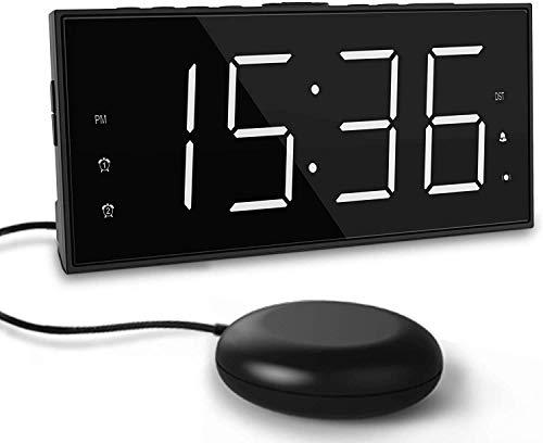 Reloj Despertador de Vibración para Sordos,LED Despertador Digital para Duermen Profundamente,Pantalla Grande de 7 '' y Atenuador, Alarma Doble, Cargador USB, Horario de Verano de 12/24 h - Blanco