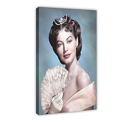 Vintage Beauty Poster Ava Lavinia Gardner 18 Leinwand Poster Wandkunst Dekor Druck Bild Gemälde für Wohnzimmer Schlafzimmer Dekoration Rahmen: 60 x 90 cm