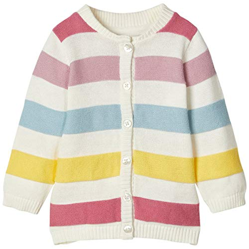 NAME IT Baby-Mädchen NBFDENILLI LS Knit Card Strickjacke, Snow White, 50