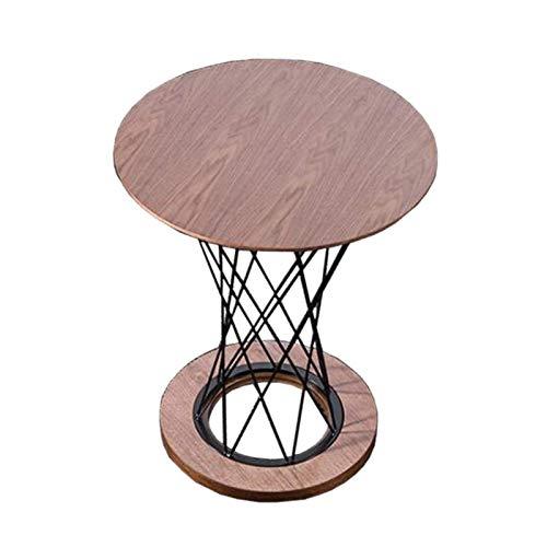 WLJBD Couchtisch, Tische Massivholz Verhandlung Konferenztisch, Runde Wohnzimmer Kaffeetabelle, Eisenrahmen Gitterstütze, Akzent Tische Farbe:...