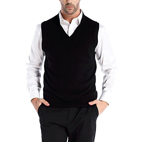 Kallspin Men's Cashmere Wool Blend Relax Fit V Neck Vest Sweater Knit Sleeveless Pullover, Black, Medium