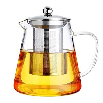 1300ml/ 43OZ Glass Teapot with Removable Infuser, Stovetop Safe Tea Kettle, Blooming and Loose Leaf Tea Maker Set