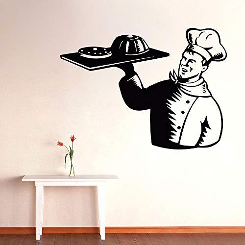 Muurtattoo man kok kok met gerechten eten wandtattoo keuken restaurant winkel decoratie vinyl muurkunst wandafbeelding kookgerei decoratie