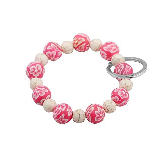 SEIRAA Wrist Keychain Bracelet Elastic Functional Beaded Bracelet Handsfree Keychain Gift for Women (Pink)