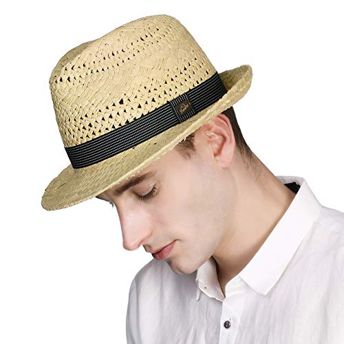 Comhats Straw Trilby Fedora Summer Hats for Men Short Brim Paper Beach Hat Ladies Sun Hats Panama with Band Beige 56-58CM