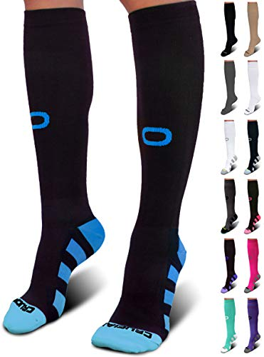 Crucial Compression Socks for Men & Women (20-30mmHg) - Best Graduated Stockings for Running, Athletic, Travel, Pregnancy, Maternity, Nurses, Medical, Shin Splints, Support, Circulation & Recovery