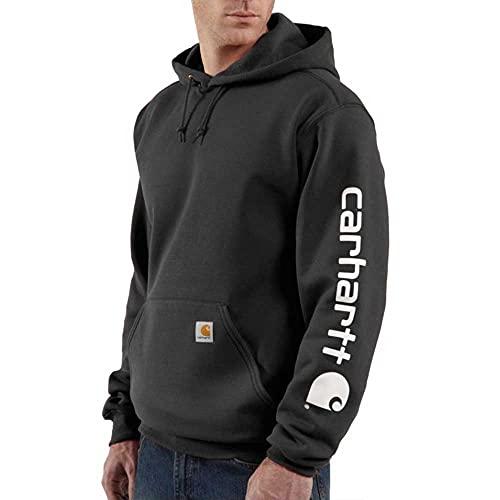 Carhartt Midweight Sleeve Logo Sweatshirt Workwear Kapuzenpullover Hooded Sweater Original Fit mit Ärmellogo Schwarz, M, Black, Hombre