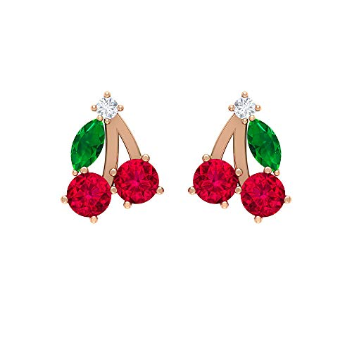 Rosec Jewels 18 quilates oro rosa marquesa redonda Green Red Emerald Diamond Ruby