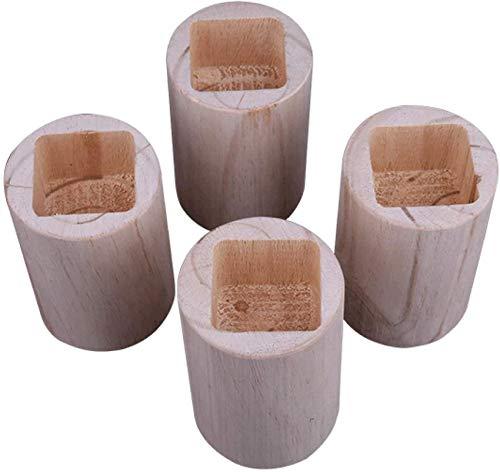 liliyda 4 PièCes Bois Meubles Riser Rond Trou Carré Meubles Pieds Poussoir Lit Meubles Jambes Augmenter La Hauteur des Meubles, Table En Bois Bureau Lit Ascenseur