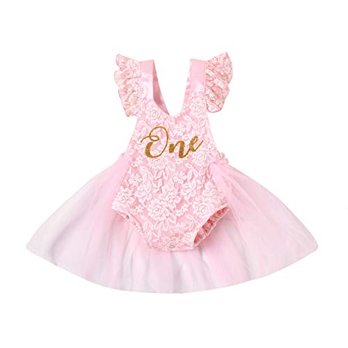Toddler Baby Girls Romper Dress with Mesh Stitching One Letter Print Little Princess Summer Outfit Costume (Pink,9-12 Months)
