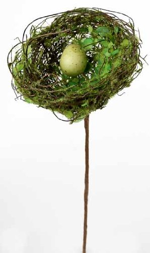 Package of 4 Twig and Moss Bird Nests with Miniature Egg in Center