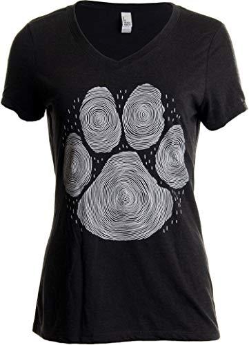 Paw Print Line Art | Cool Cute Dog Cat Illustration V-Neck T-Shirt for Women-(Vneck,M) Vintage Black