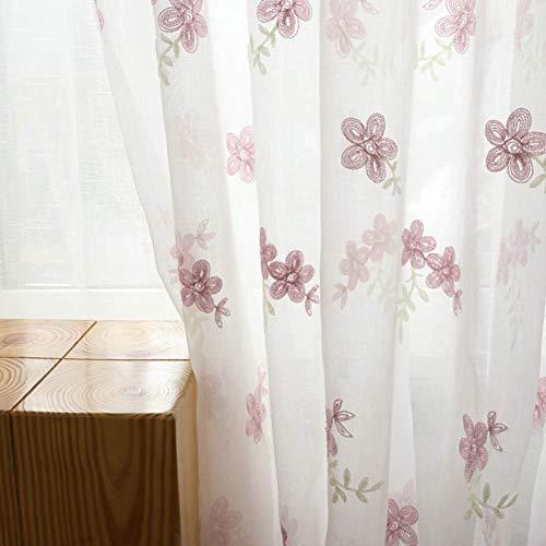 QYSZYG Fiore Rosa Tende in Voile Ricamo Pannelli con Occhielli Tende Tende per Balcone Soggiorno Camera da Letto 2 Pannelli, L140xL180cm