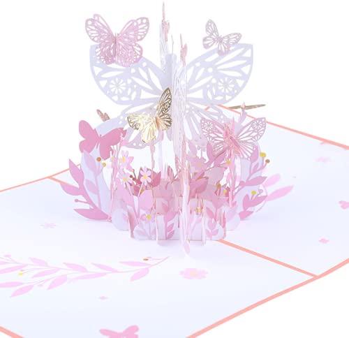 Biglietto di auguri di compleanno tridimensionale pop-up per San Valentino, ringraziamento, laurea, per compleanno, matrimonio, anniversario, impegno, San Valentino, con busta – farfalle e fiori