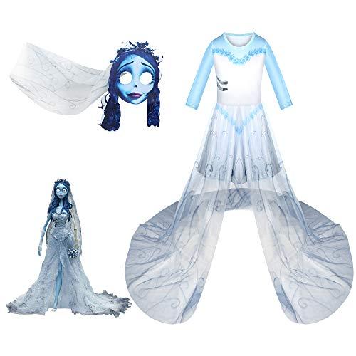 Vestidos para niñas Vestido Largo de Novia cadáver Vestido Fantasma de Halloween Fantasma engañoso Zombie Cementerio Ropa de Novia con Velo de máscara