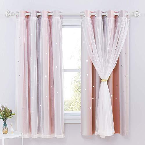 NICETOWN Vorhang Kinderzimmer Junge - 2er Set Sternenvorhänge mit Voile Kinder Vorhänge Ösenvorhang Gardinen Blickdicht, H 160 x B 132 cm, Pink+Grau