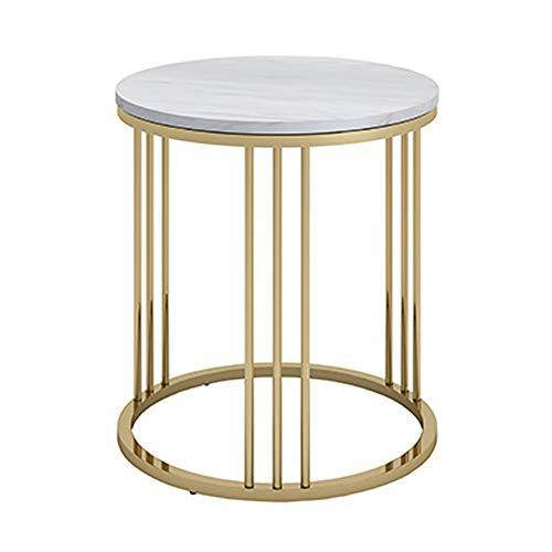 Tables FEI - Bureau d'ordinateur d'appoint en marbre Basse de Salon en Fer forgé pour Tous Les postes de Travail (Couleur : Or, Taille : 40 * 55cm)