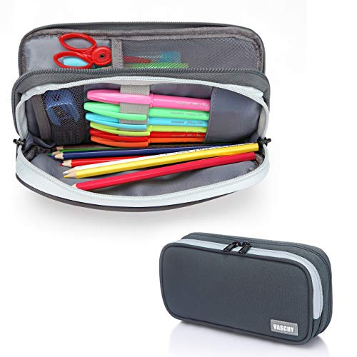 Pencil Case,Vaschy Large Capacity Pen Holder Pouch with Double Zippers Multi Compartments Easy Organized Mesh Pockets Dark Gray