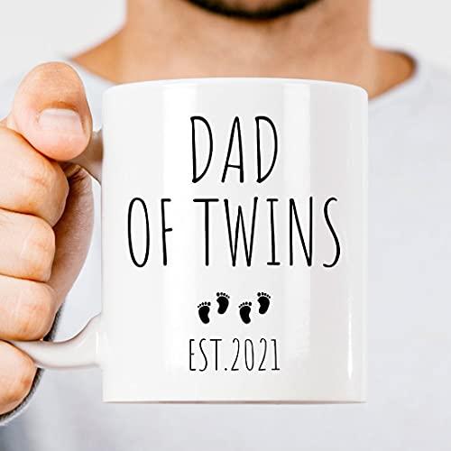 DKISEE Taza de café blanca de 11 onzas, diseño de papá de los gemelos, regalo de papá de los gemelos, regalo para papá, regalo de gemelos recién nacidos, taza de té para oficina en casa