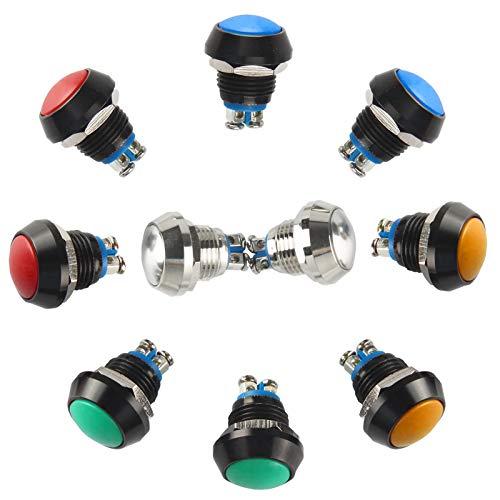 Larcele Pulsador de 12mm Mini Botón Momentáneo Impermeable del Metal con el Terminal de Tornillo, 10 Pedazos JSANKG-13 (Mezclar Colores)