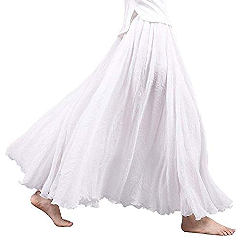 Asher Women's Bohemian Style Elastic Waist Band Cotton Linen Long Maxi Skirt Dress (95CM, White)
