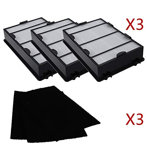3 Packs Air Filter + 3 Packs Carbon Filter Holmes Replacement for Hapf600 Filter B HEPA Replacement Filter HAPF600D-U2
