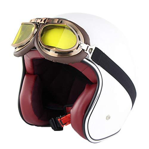 Casco de Moto para Adultos, Estilo Retro Cruiser, Media Cara, con Gafas de Aviador, Estilo Vintage, 55 – 64 cm