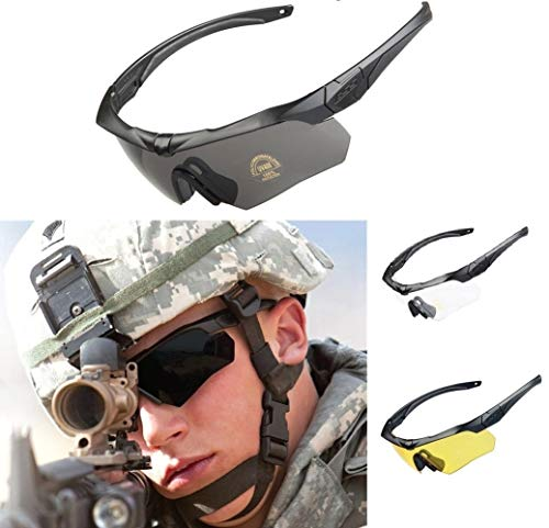 ANSI Z87.1 Tactical Combat Military Ballistic EYE-SHIELD Shooting High Impact Resistance Sunglasses With 3 Replacement Lenses And Prescription Glasses Holder ( Black )