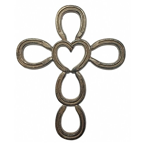 Cast Iron Cross Horse Shoe Heart 6.25