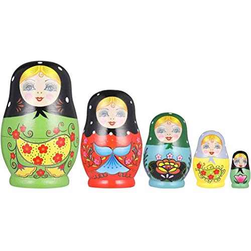 Fovor Valentines Decorations Gifts, Russian Nesting Dolls 5 Layer Wooden Painted Nesting Dolls Russian Dolls for Children Christmas New Year Gift