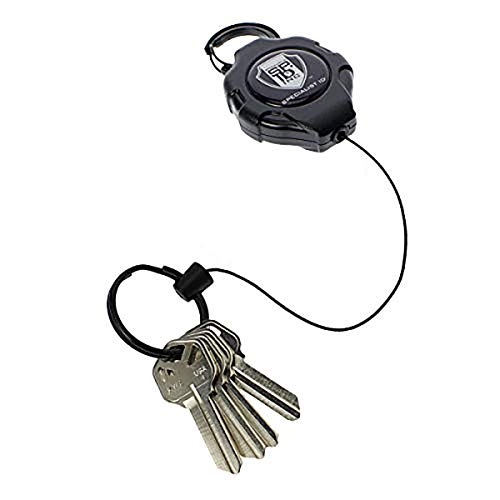 Heavy Duty Retractable Ratchit Keychain Tether Reel for Multiple Keys with Clip (Large Polycarbonate Body) - Stays Extended Kevlar Cord Lanyard Leash - (Carabiner Attachment)