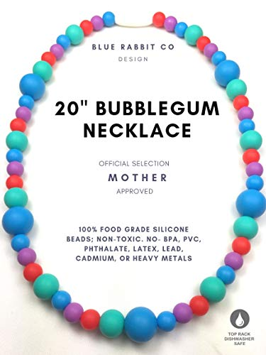 Silicone Toddler Jewelry - 20' Kids Necklace For Girls Boys - Food Grade BPA Free (Bubblegum)