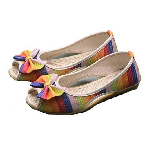 Platform Sandalen Voor Dames Mode Canvas Vis Mond Flats Open Teen Antislip Bootschoenen Zomer Gemengde Kleuren Strand Instappers Instappers