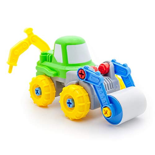 PicassoTiles Take-A-Part 2-in-1 Construction Truck Toys Car Set Jack Hammer Road Roller S.T.E.A.M Toy DIY Building Dismantling Kit with Safe Child-Size Large Parts, Screw Driver, Stubby Wrench PTT305